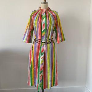 Vintage Rainbow Striped 1970s Smocked Dress